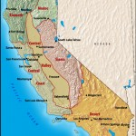 Envisioning California in terms of natural climactic and vegetation/animal life regions. Map from www.mapgraphics.com