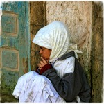 Moroccan girl, thinking