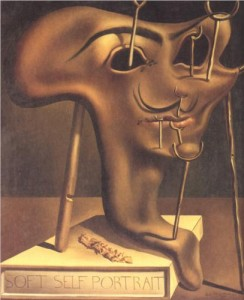 From WikiPaintings.com, Salvador Dali's Soft Self Portrait with Fried Bacon