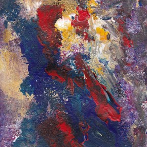 Abstract dark blue, red, yellow, white and purple mishmash