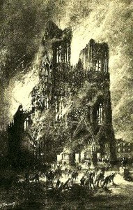 Rheims Cathedral on fire, black and white artistic image