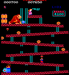Old screenshot from the Donkey Kong game