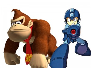 Donkey Kong vs Mario, two game characters shown together