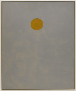 Yellow circle on a pale white background