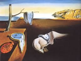 Salvador Dali's dreamscape, with the analog clocks melting over a desert landscape