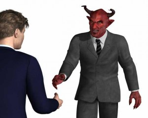 Man shaking hands with the devil, both in suits