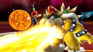 Mario breathing fire