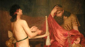 Perhaps the only time in history when being caught with a half-naked harpist was a good decision.