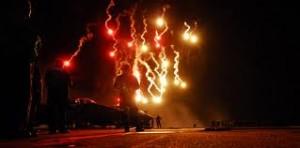 Fireworks over ocean