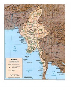 Political map of Myanmar and neighboring countries. Shows rivers