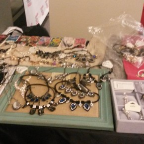 Locally made jewelry on display