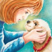 Red haired woman with a blue sweater looking into the dog's eyes.