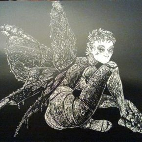 "Scratch board drawing by Rui M. inspired in ""Fees et Tendres Automates"" by Béatrice Tillier - Téhy"