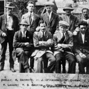 Joseph Francis O'Mahony, first row, third from left, circa 1920, age 16, all dressed up and looking older than 16 as a prisoner of the English on Spike Island a few years before he emigrated to the United States. There he became a  citizen and the judge told him to change his name to Mahoney, a decision he would bemoan like a banshee for years.  Permission to use this photo has been obtained from the Waterford County Museum in Ireland.