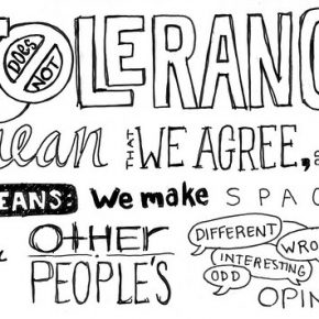 Artwork saying that tolerance doesn't mean agreeing but making space for others' opinions