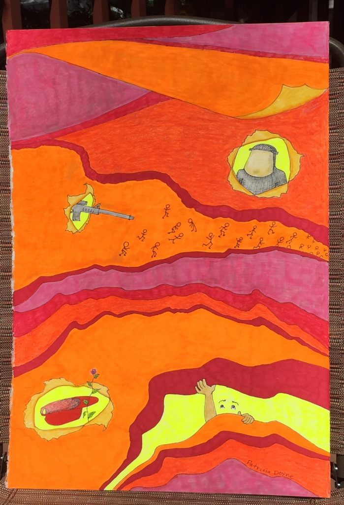 Swathes of purple, orange and yellow-orange color separated by wavy purplish-red lines, like national boundaries or mountain ranges/geological strata. Machine guns, masked bandits and a red hat and a flower poke through yellow holes in the landscape, as does the face and hands of a buried person.