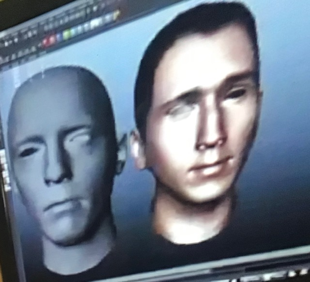 Images of a white male face on a computer screen. First image is bald like a mannequin, the second has color, hair, features and a calm expression.