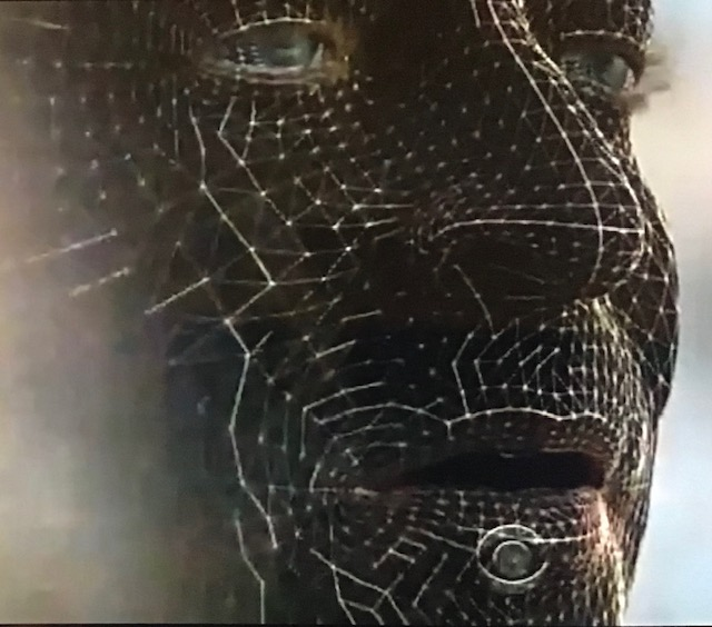 White mesh over a man's face, digital tech-looking image