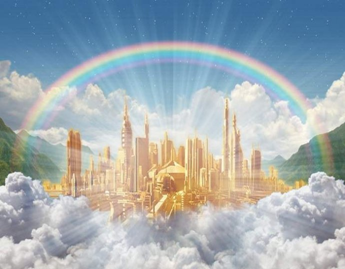 Stylized image of a shining golden city with clouds and mountains and a rainbow.