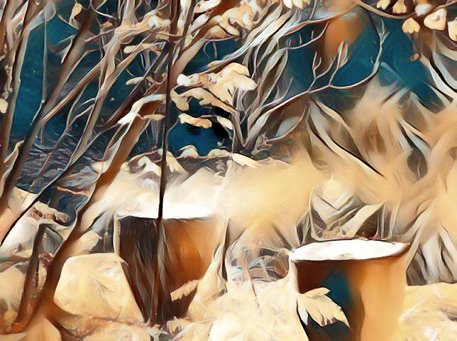 Stylized painting of brown kettle drums under a brown tree with leaves blowing in the wind against a blue sky.