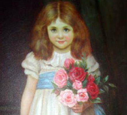 Old fashioned Western painting-style young brown-haired white girl in a white dress with a blue sash holding a bouquet of red and pink roses.