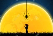 Spider descending above a hand reaching up towards it in front of a yellow moon.