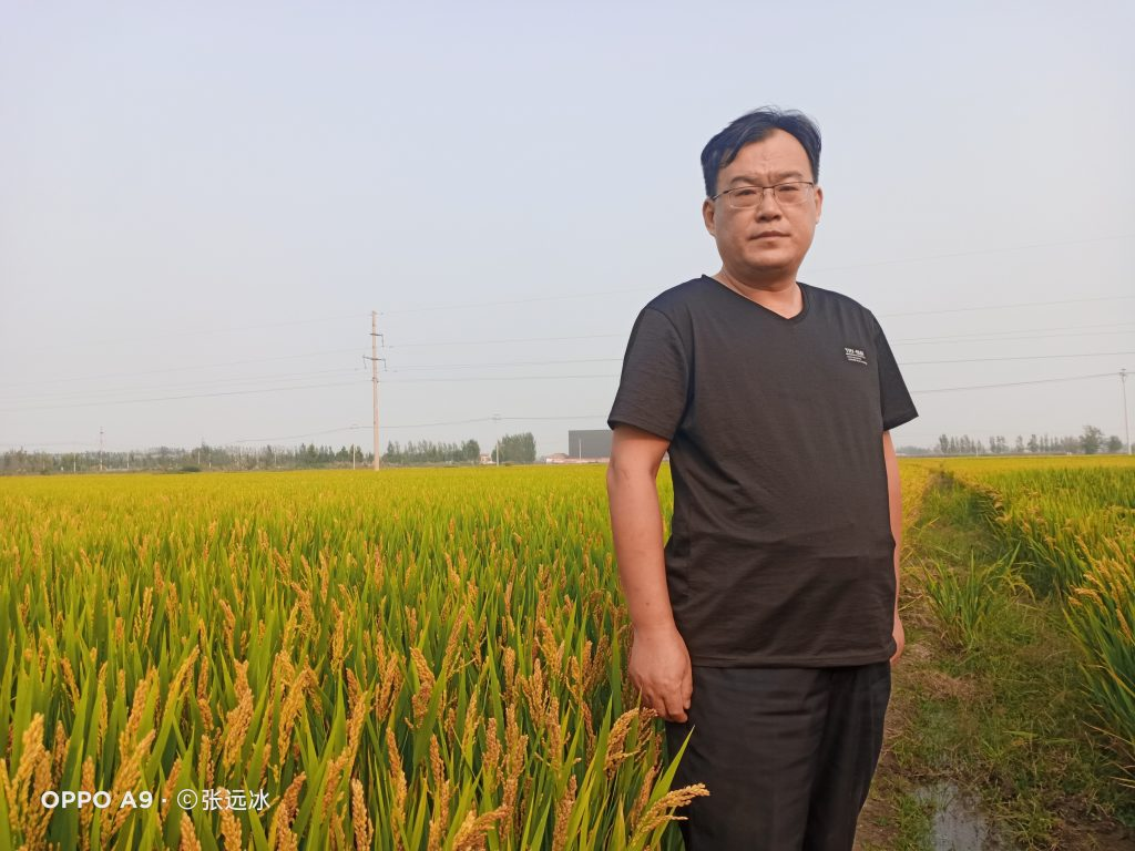 Middle aged Chinese man dressed in all black standing in a green field of grain. He has glasses and short black hair.