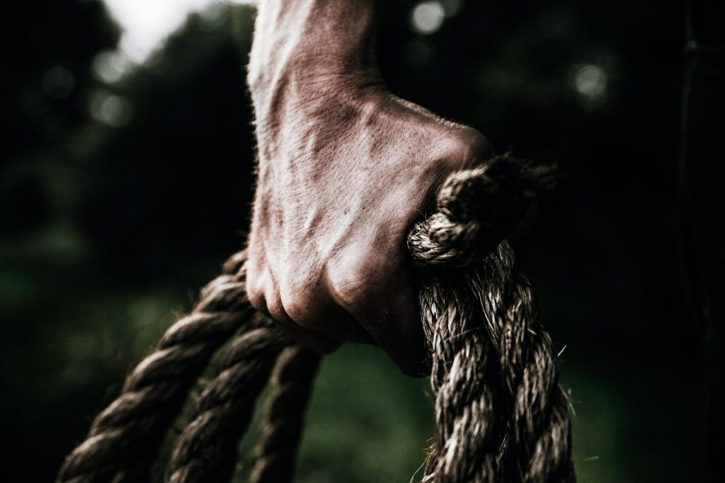 Flexed hand holding several cords of twisted rope against a green background.