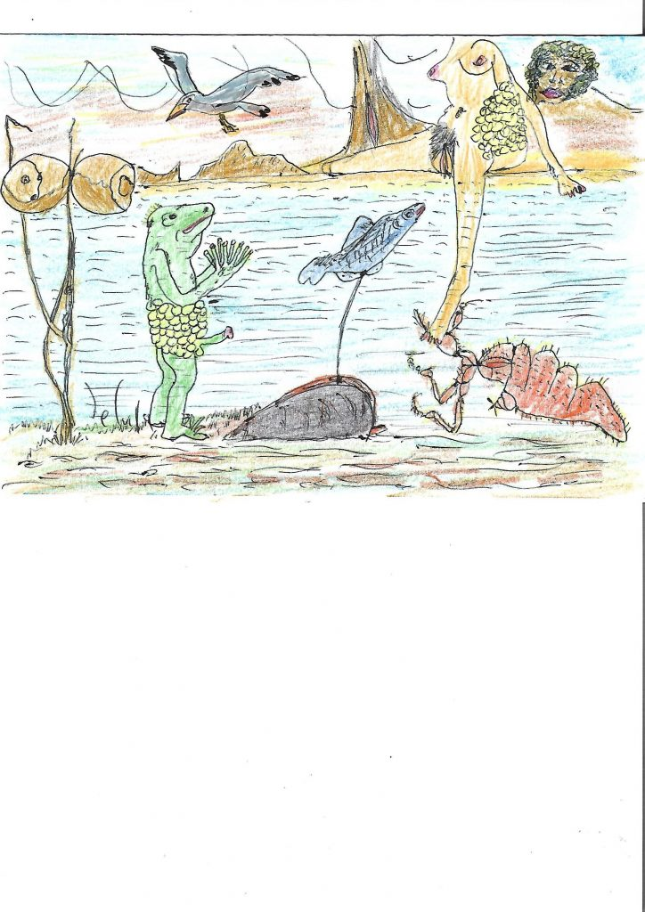 Childlike drawing of a frog standing upright in a pond near fish and a bird and a woman and some plants.
