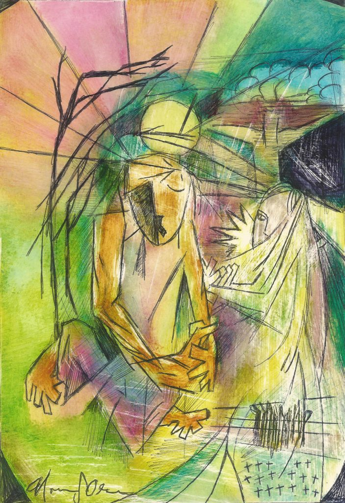 Colorful Cubist-like painting with a lady in a robe and a man sitting down as if in despair, and a crucifix in the background. Suffused with warm yellow and green light and some purple in the middle, and a gray rock in the upper right corner.
