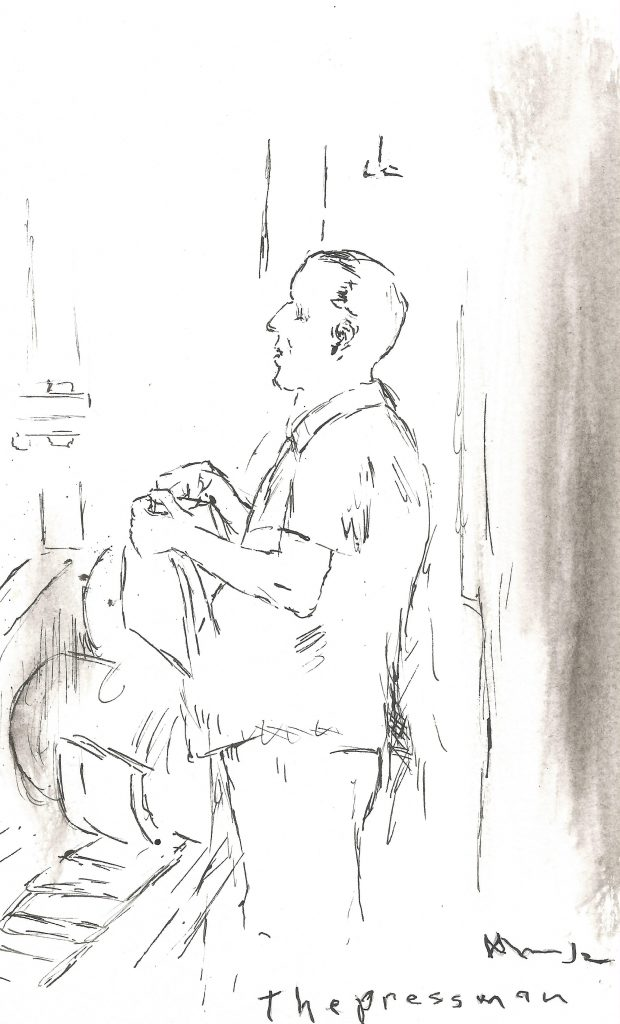 Black and white drawing of a middle aged man sitting down and tending a spindle printing pages in a factory.