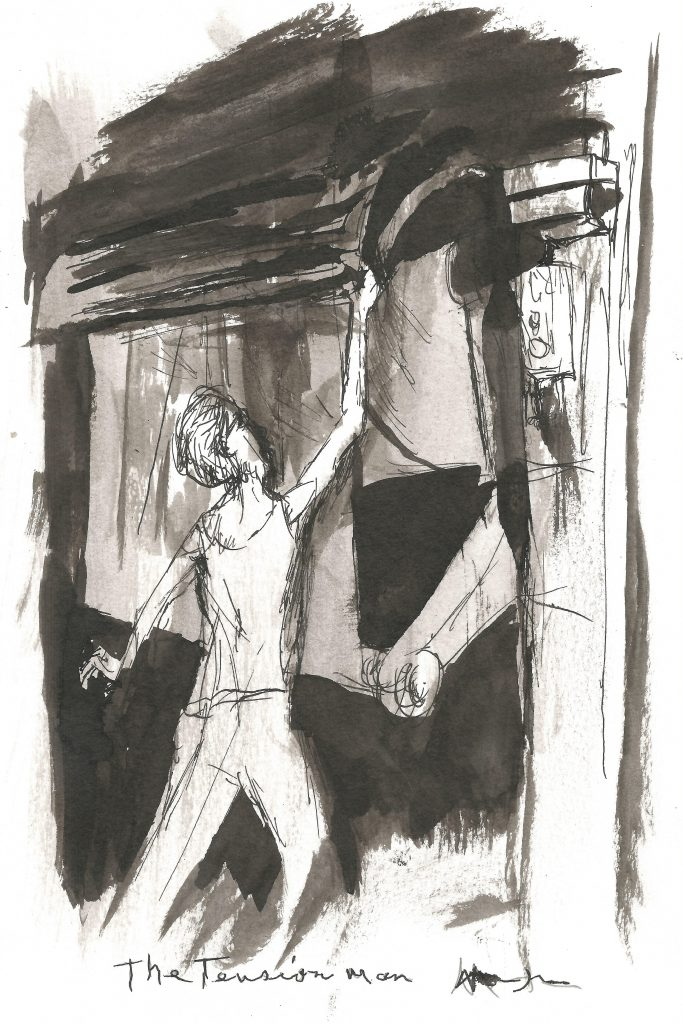 Sketch-like black and white painting of a young man reaching up to tend a roll of paper hooked up to a large machine.