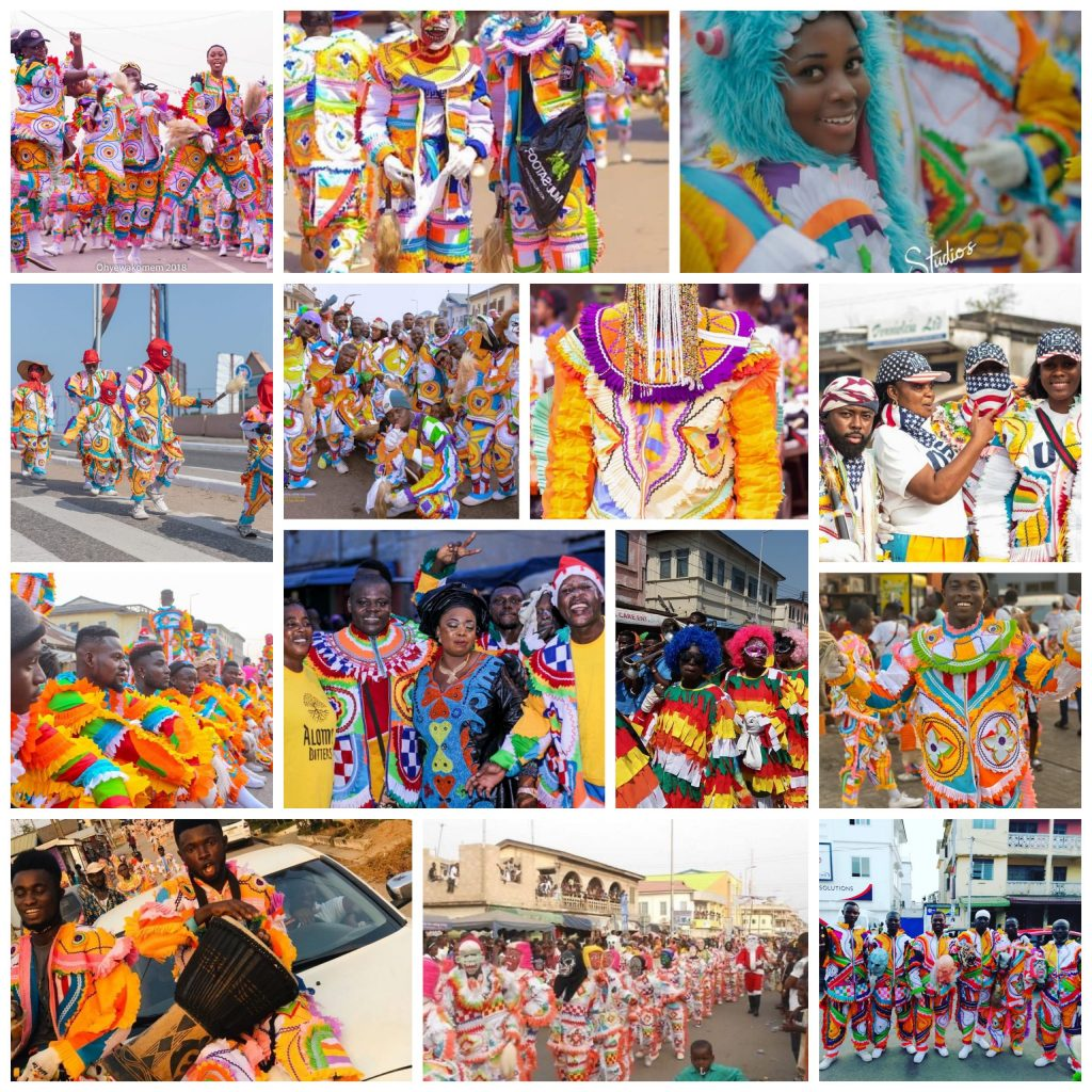 Various pictures of people in Ghana in multicolored clothing on parade for this festival.
