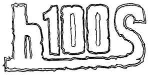 H-100s band logo written in a curvy shaky font.