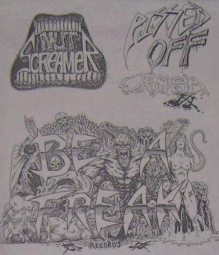 Band poster for Nine Nut Screamer, Pissed Off Orgasm. Words written in all sorts of angular artsy fonts.