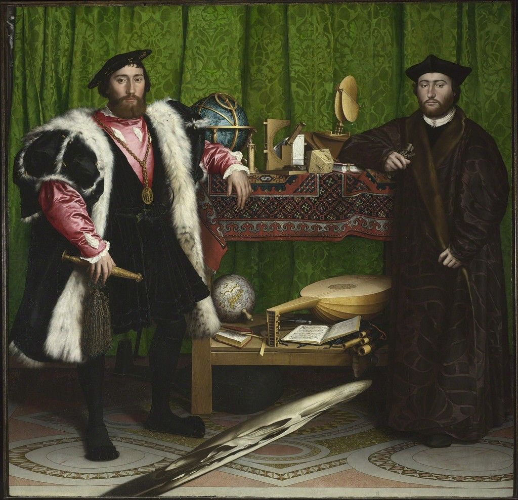 Old fashioned painting of two men from Western history hundreds of years ago, in capes and furs. They are standing in front of a green drape and instruments including a globe, books, microscopes and musical instruments.