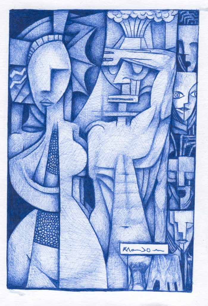 Blue pencil Picasso-esque drawing of shapes that resemble abstract human faces and torsos. One figure has their hand up over their eyes.