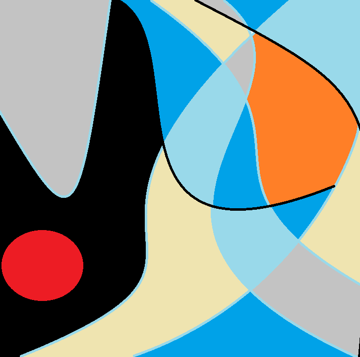 Varying curved shapes outlined in black or light blue. Red oval in the lower right, shapes of black, gray, yellow, orange, and dark and light blue.