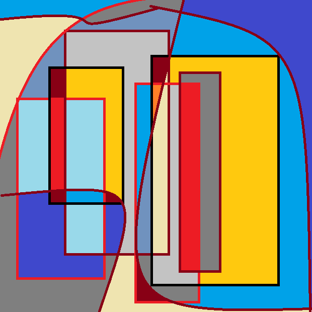 Tall rectangles of varying length and width against a background of ovals. Varying colors for various areas: yellow, dark and light blue, gray, and red. Shapes are outlined in black and red.