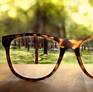 Fuzzy image of far-off trees made brighter and clear through the lens of glasses on a wooden table.