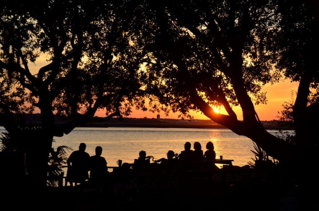 Group of silhouetted people of varying ages and heights watching a sunset through trees over a lake.