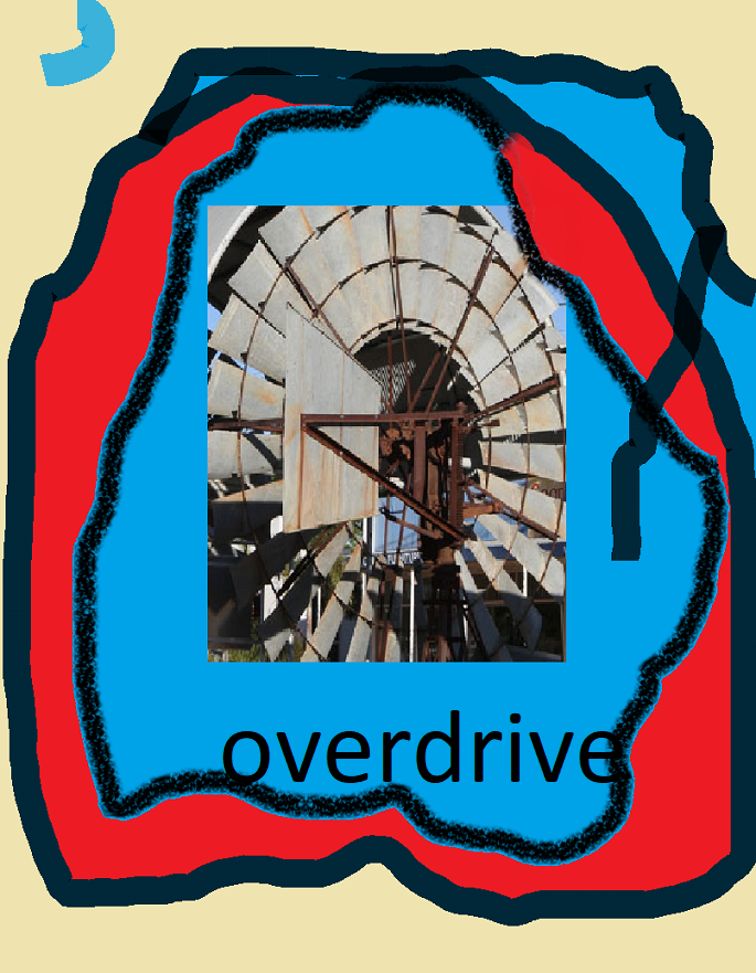 The center of a windmill, wood and metal blades, surrounded by ragged blue and red ovals and some cream color at the top and the word 'overdrive' in black at the bottom.