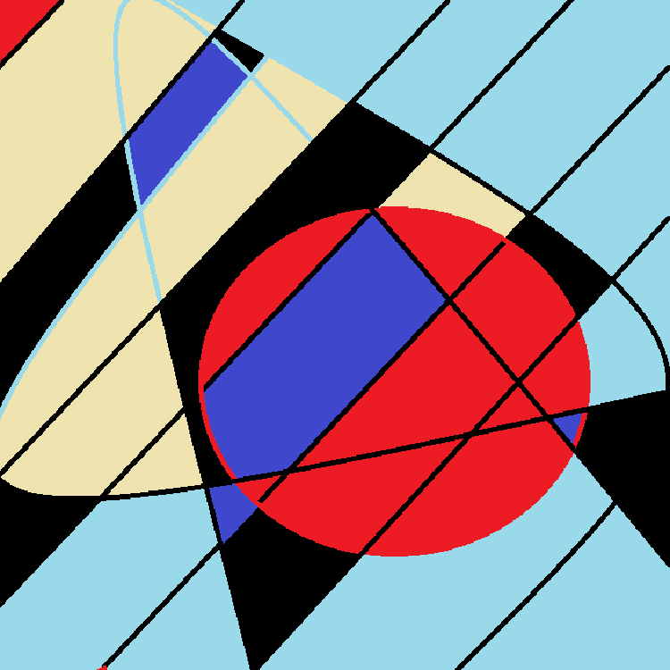 Red circle interspersed with black diagonal lines, top left portion of the circle is blue. Light tan and light blue background, some black.