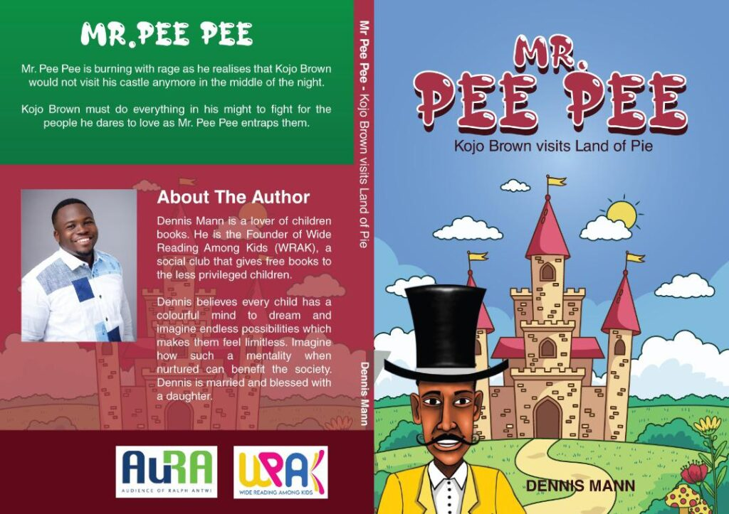 Book cover, red, green, light blue. Title, Mr. Pee Pee, is in a red bubble font and there's a man with dark skin and a black top hat standing in front of a castle on a grassy hill on a sunny day.