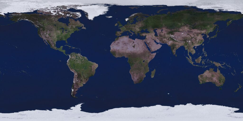 Physical map of our planet.