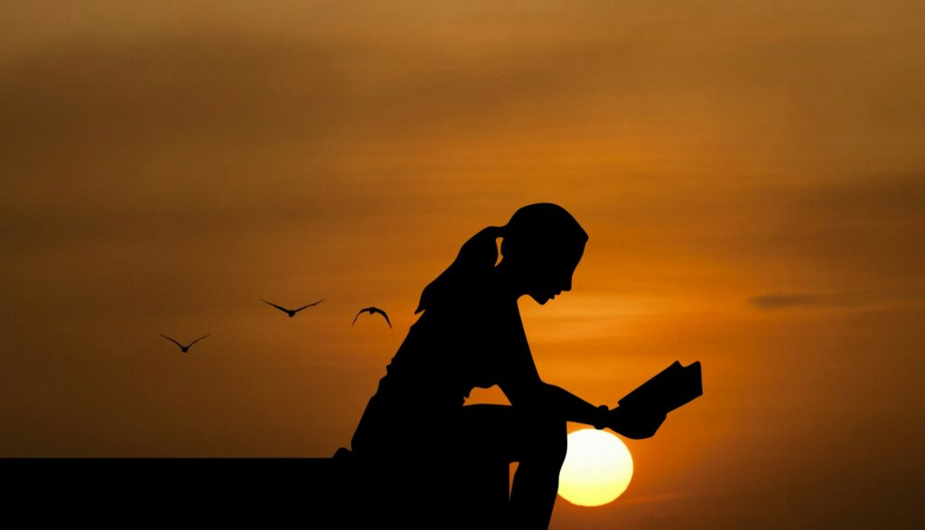 Silhouette of a woman reading on a pier at sunset or sunrise. She has a ponytail and her book in front of her. Seagulls fly behind her.