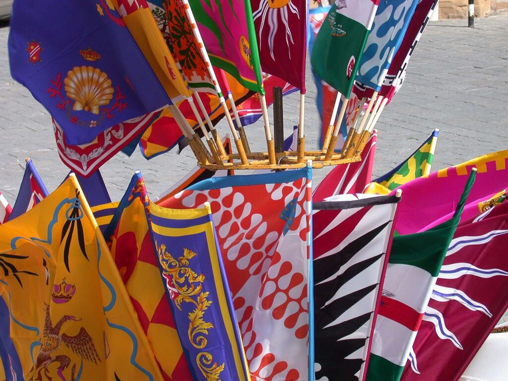 Flags of different neighborhoods in Siena