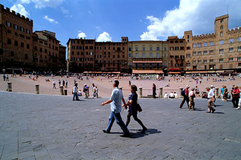 Plaza in Siena where the palio happens, empty except for a few tourists