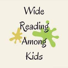 Tan, green and brown splotchy logo for Wide Reading Among Kids