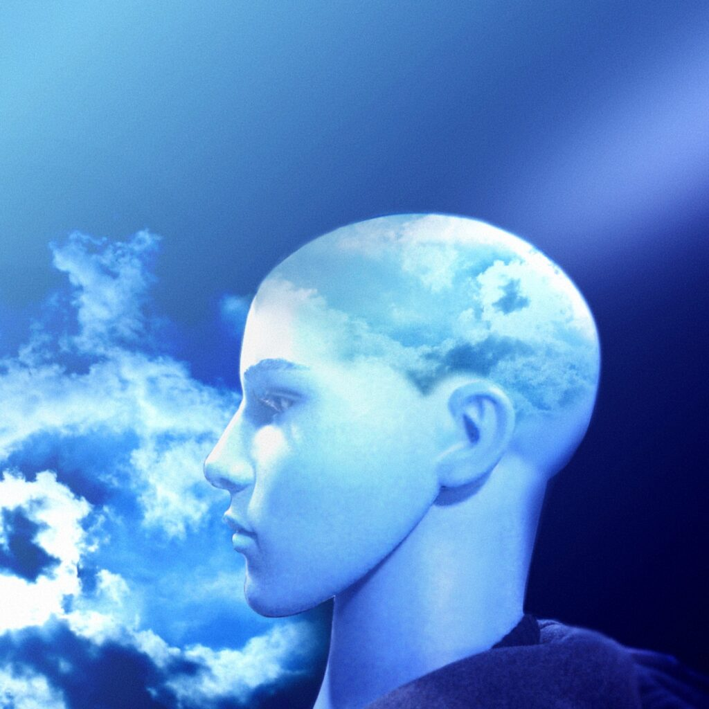 Blue stylized image of a nondescript person's left profile staring off into the clouds.